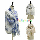 TIE DYE PATTERN LADIES WOMEN PINK / GREY / BLUE COTTON SCARF WRAP LADIES SHAWL
