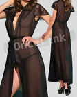 Sexy Babydoll Chemise Black Lace Sleeves Long Robe Evening Gowns Belt G-string