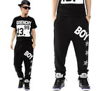 #142 HIP HOP Men and Women letter and Stars Pattern SweatPants Pants Trousers