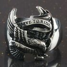 "Heavy Stainless Steel Hawk Eagle Carved ""Live to Ride Live To Ride"" Finger Rings"
