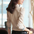 Women Cotton Long Sleeve Curved Collar Bow Tie Plaid Bowknot #G Top Shirt Blouse