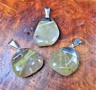 Rutilated Quartz Crystal Necklace - Tumbled Gemstone Pendant Silver Plated (L19)