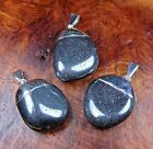 Hematite Necklace - Large Tumbled Natural Gemstone Pendant - Silver Plated (L20)