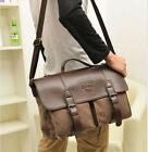 Men's Shoulder Bag Messenger Bag Vintage Canvas Leather Satchel School Military