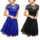 Summer Women\'s Floral Lace Short Sleeve Cocktail Evening Party Casual Mini Dress