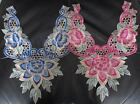 Beautiful, large embroidered guipure lace neck trim applique pink or blue
