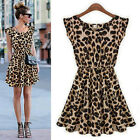 Sexy Fashion Women Lady Leopard Casual Evening Cocktail Party Mini Summer Dress