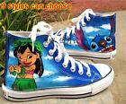 Lilo and Stitch Pattern Women Men Hand-painted Canvas Shoes Boy Girl's Sneaker