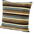 Twinkle Chenille Teal / Brown / Cream Stripe Cushion Cover Come's In 2 Sizes