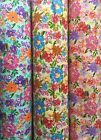 FLORAL poly cotton fabric Coloured Pen Look Pattern you pink the colour & Length