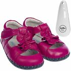 Girls Toddler Leather Soft Sole Baby Shoes Sandals in Hot Pink & Shoe Horn