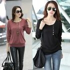 Women Casual Sexy Cotton Batwing Long Sleeve Loose T-Shirt Tops Blouse Elegant