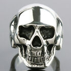 Men's Silver Evil Skull Head Skeleton Stainless Steel Biker Motorcycle Band Ring