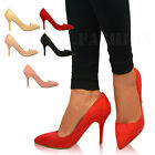 New Womens Ladies Pointed High Heels Stiletto Pumps Work Party Court Shoes Size