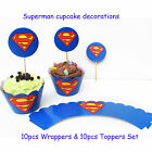 Cupcake Decoration kids Birthday Superman/Spideman/Monters 10Wrappers+10Toppers