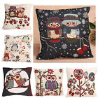 Retro Vintage Throw Home Sofa Decor Cotton Linen Pillow Case Cushion Cover Owl
