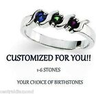 S-Bar Mothers ring Custom Made Solid Sterling Silver Ring w/ 1-6 Birthstones