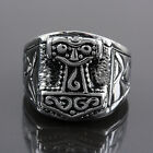 316L Thor's Hammer Religious Totems Embossed Stainless Steel Band Finger Rings
