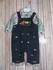 NURSERY RHYME Baby Boy Holiday Train Overalls Top Outfit Set Fall Winter 3 6 9m