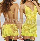 Sexy Lingerie Neon Yellow Babydoll Chemise Corset Lace Halter Garter Belt String
