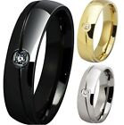 6MM Size 5-15 Black Silver Gold Stainless Steel Wedding Engagement Ring Band NEW