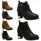 LADIES WOMENS CHELSEA COWBOY BIKER ANKLE BLOCK HEEL PLATFORM BOOTS SHOES SIZE