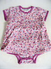 NWT Jaxxwear Infant Girl Skirted Bodysuit/Onesie 100% Cotton Short Sleeve Purple