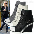 AnnaKastle New Womens Buckle Straps High-Top Wedge Sneaker Trainer US 5 6 7 8