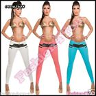Womens Leather Look Trousers Sexy Ladies Skinny Treggings Size 6,8,10,12,14 UK