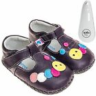 Girls Toddler Leather Soft Sole Baby Shoes Purple / Caterpillar & Shoe Horn