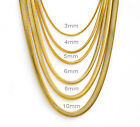 Mens Womens Boys 18K Gold Plated Stainless Steel Flat Snake Necklaces Chains