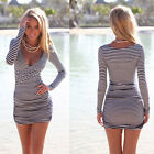 Sexy Women Summer Casual V Neck Srtiped Party Evening Cocktail Short Mini Dress