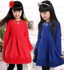 Autumn Children Girls Long sleeve dresses Girl baby kids flower princess dress