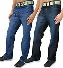 "Mens Designer Enzo Jeans Regular Fit Straight Leg Denim Free Belt Waist 28""-42"""