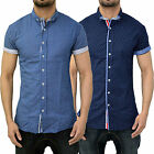 Mens New Designer Bewley & Ritch Shirt Short Sleeve Rolled Up Casual Fitted Top