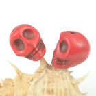 Red Howlite Turquoise Carved Skull Skeleton Beads Spacer Jewelry DIY Findings