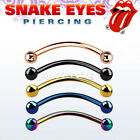 "1PC. 16g,14g~9/16"", 5/8"" Anodized 316L Curved Barbell Tongue Snake-Eyes Piercing"