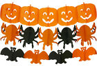 Halloween Banner Garland Hanging Decorations - Choose Pumpkin Spiders or Bat