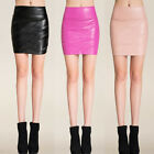 Hot Faux Leather Straight Bodycon Pencil Short Mini Skirt High Waist Tight S-XL