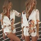 Womens White Floral Mini Playsuit Ladies Jumpsuit Summer Shorts Beach Dress 6-16