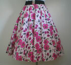 "FULL CIRCLE ROCK N ROLL SKIRT 1950'S LENGTH 25"" SIZE S M PINK FLOWERED HAWAIIAN"