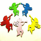 5 LARGE COLOURFUL WOODEN XMAS ANGEL CHERUB PENDANT CHARMS 77mm DIY Decorations
