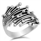 Fashion Unique Ball Bead Shiny Ring New .925 Sterling Silver Band Sizes 5-12