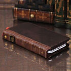 Retro Leather Vintage Book Flip Wallet Card Case Cover For Samsung Galaxy Phones <br/> Samsung Galaxy S5 S6 S7 edge + S8 S9 Plus Note 3 4 5