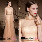 Champagne Gold Sequins Evening Prom Bridesmaid Ball Wedding Gown Maxi Dress