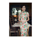 Traditional Chinese Dress Short Sleeve Vintage Floral Linen Qipao Mujin