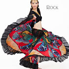 C829 Belly Dancing Costume 2 Pieces Upper Top and Flamenco Skirt Tribal Circle