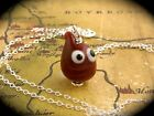 Googly Eyed Blood Drop Necklace - lampwork glass on sterling silver - Halloween