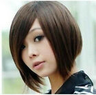 New Women's Inclined Bangs Short Straight BOBO Full Wigs Hair 3 Colors Available