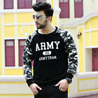 AM1 Mens Militarye Army Printing Casual Sweater Plus Size Hoodie Tops Sweatshirt